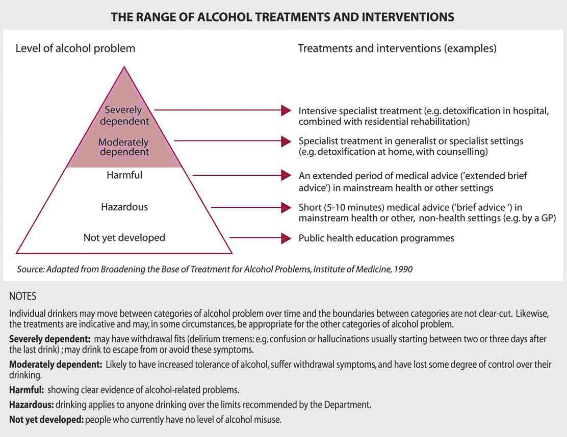 Figure 1:The range of alcohol treatments and interventions