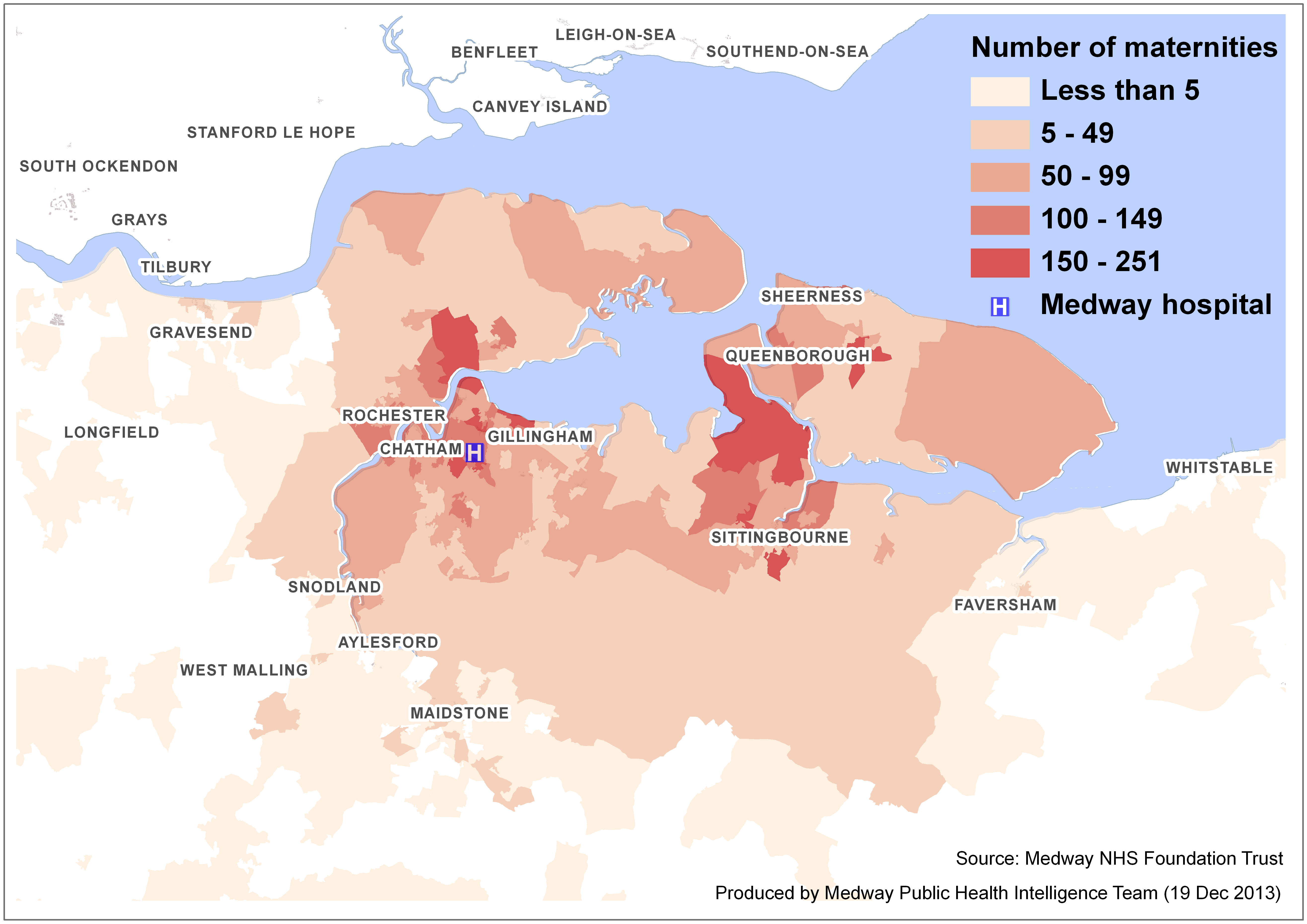 Figure 7: Lower super output area of residence of women booking at MFT, 2009 to 2012.