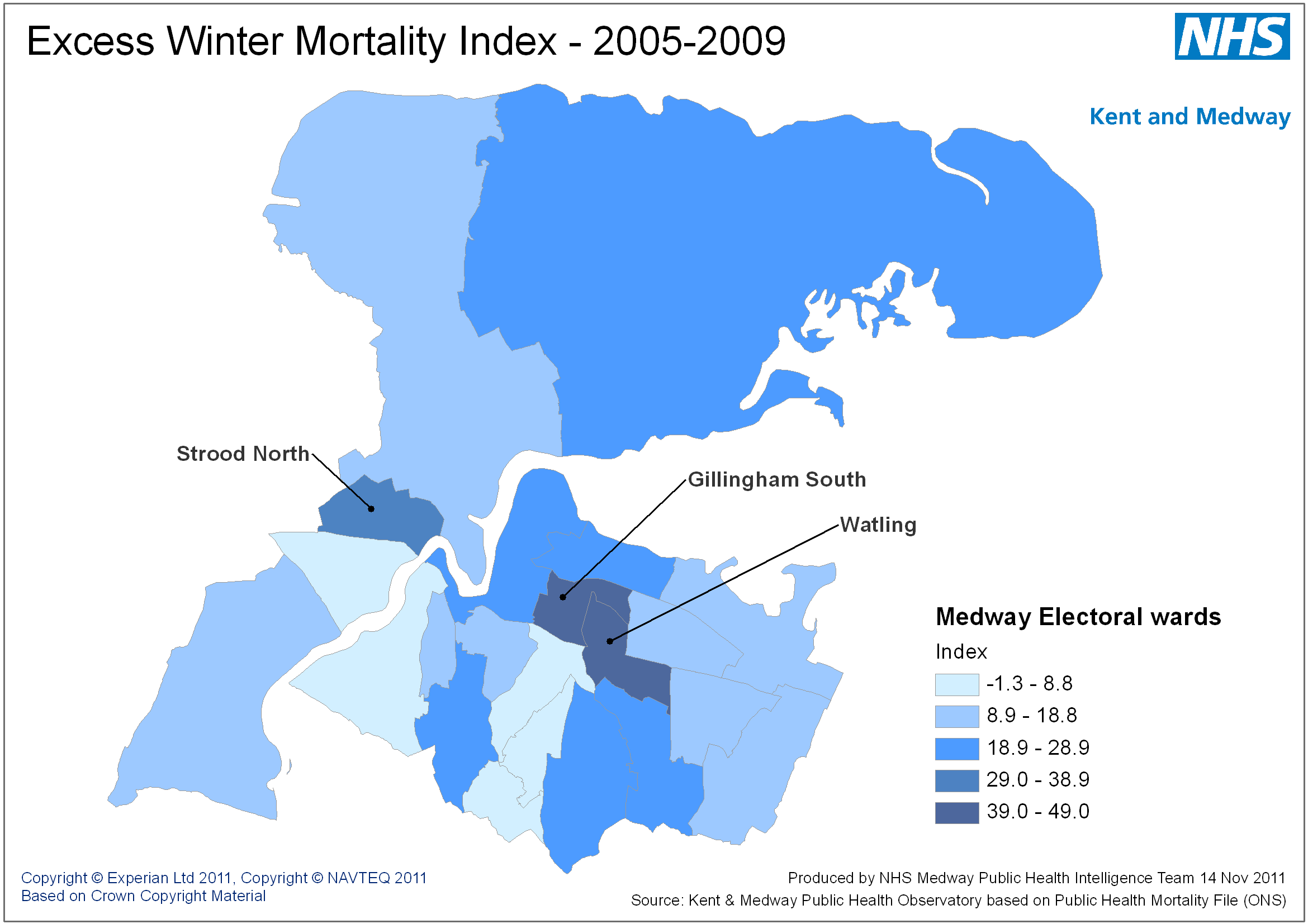 Figure 1: Medway excess winter mortality by Ward 2005--2009.