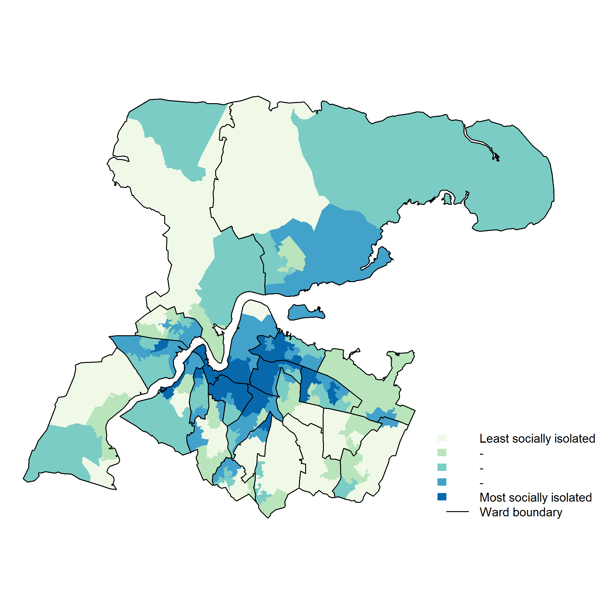 Figure 2: Relative social isolation per household at lower super output area level of persons under 65.